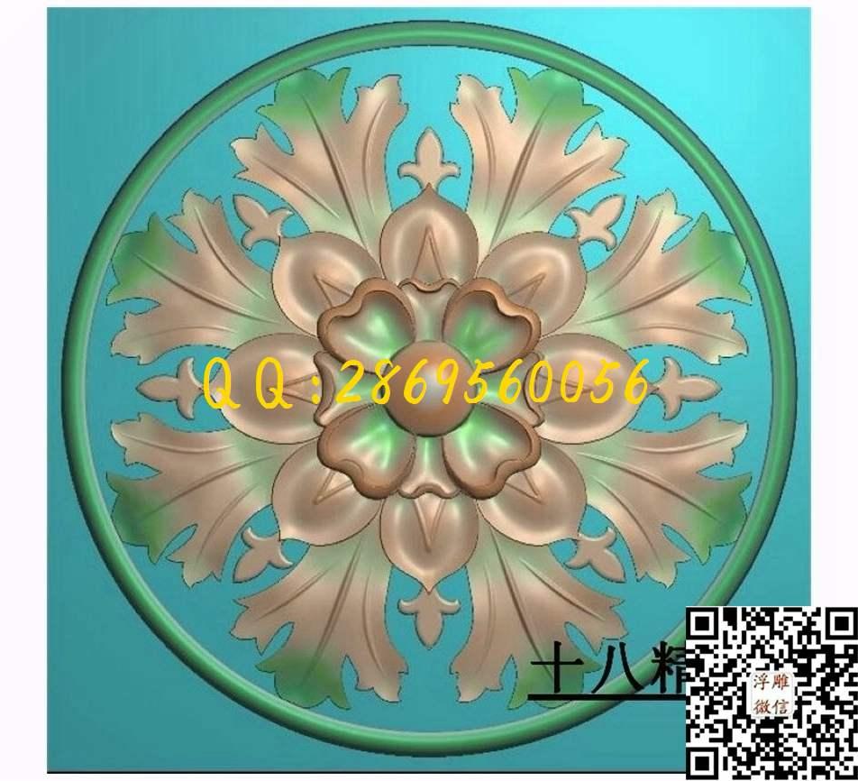 门上花124_圆形洋花圆门花欧式洋花门芯圆洋花精雕图浮雕图灰度图电脑